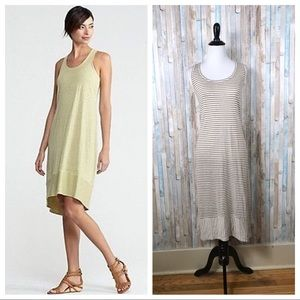 Eileen Fisher M Striped Linen Racerback Midi Dress